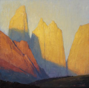 David Grossmann, Yellow Towers, oil, 12 x 12.