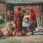 William Kalwick, Pottery Vendor, oil, 16 x 20.