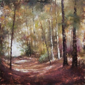 Tracey Lane, Light in a Dark Wood, acrylic, 40 x 40.