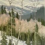 Leon Loughridge, March Snow, woodblock print, 22 x 14.