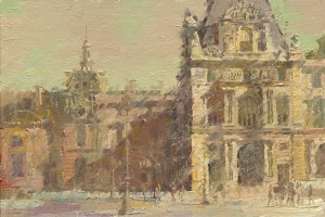 C.W. Mundy, The Louvre, oil, 14 x 21.