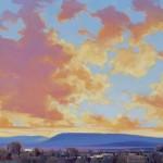 William Hook, Sky Village, acrylic, 18 x 24.