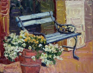 Susiehyer, Charles' Bench, oil, 8 x 10.