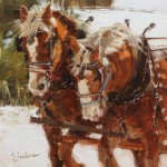 Lindsey Bittner Graham, Working Mares, oil, 8 x 8.