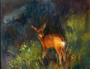 Christina Orlikowski, Little Mule Deer, oil, 9 x 12.