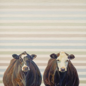Nancy Bass, Zoe and Ella, oil, 30 x 30.