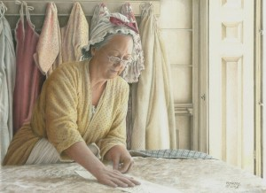 Carol E. Maltby, The Seamstress, colored pencil, 12 x 16.