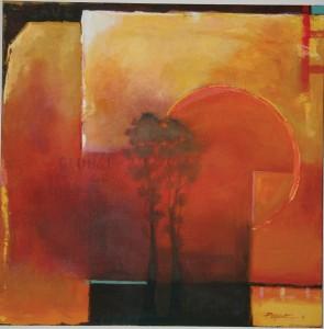 Pat Moseuk, Global Warming, oil, 30 x 30.