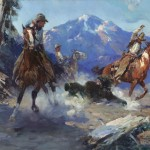 Frank Tenney Johnson, Cowboys Roping the Bear, Coeur dAlene Art Auction.