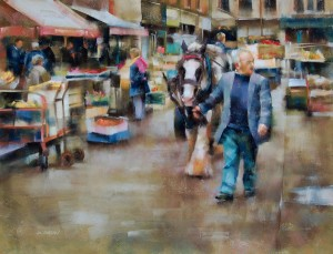 Desmond OHagan, Dublin Market, Ireland, pastel, 18 x 24.