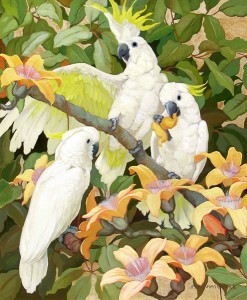 Jesse Arms Botke, Sulphur Crested Cockatoo, oil, 30 x 25, George Stern Fine Arts.