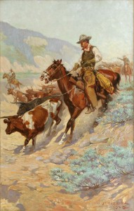John Norval Marchand, Pointing the Beef Herd, Cattle Trail Series, March in Montana.