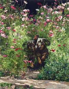 Sueellen Ross, Dachshund Dash, mixed media, 14 x 11.
