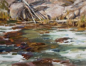 Mitch Baird, Yellowstone Current, oil, 14 x 18.