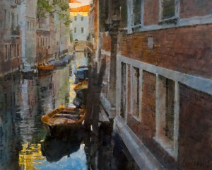 James Crandall, Side Canal in Shade, (Venezia), oil, 24 x 30.