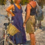 James Crandall, Two Women at Lido, oil, 16 x 12.