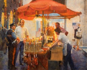 James Crandall, Candy Vendor, View No. 2, oil, 24 x 30.