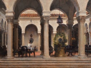 James Crandall, Coffee at the Athenaeum, No. 2, oil, 30 x 40.