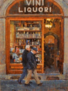 James Crandall, Vini Liquori, oil, 24 x 18.