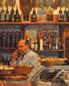 James Crandall, Wine Sellar, No. 3, oil, 30 x 24.