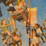 James Crandall, Swing Carousel Riders, oil, 24 x 30.