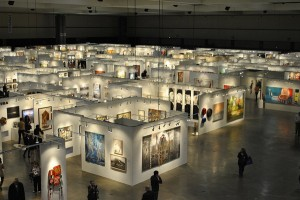 An overview of the gallery booths at the 2012 LA Art Show.