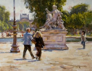 Mitch Baird, Parisian Conversation, oil, 14 x 18.