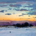 Tom Perkinson, Winter at Dusk, watercolor/mixed media, 29 x 39.