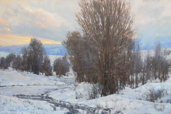 David Harms, Early Morning Winter, oil, 24 x 36.