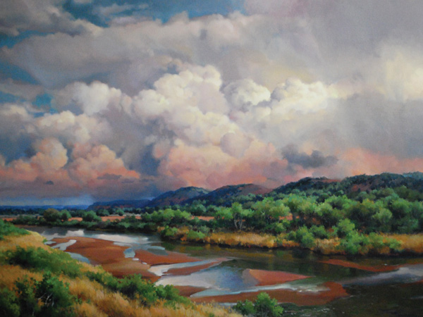 Linda Tuma Robertson, Storm Watch on the South Canadian, oil, 36 x 48.