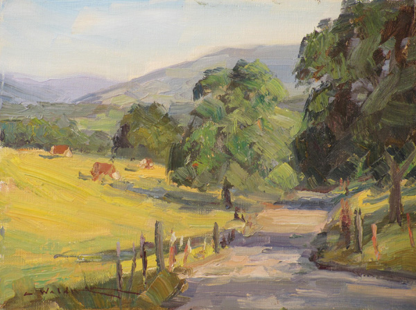 Charles Waldman, Summer Morning, oil, 9 x 12.