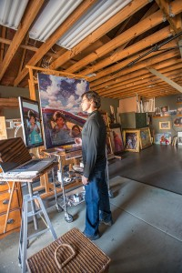 Scott Burdick at his art studio in Quaker Gap, NC