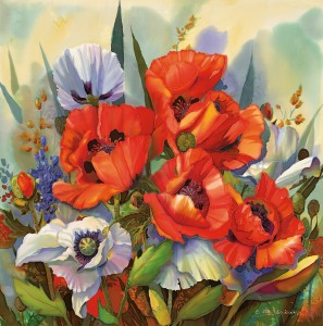 Nancy Cawdrey, A Host of Poppies, dye on silk, 26 x 26.
