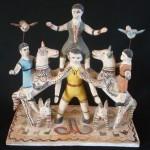 Heron Martinez, Acrobats, circa 1950s, ceramic, 12 x 12 x 6.