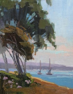 Debra Huse, Blue Balboa Island Harbor View, oil, 6 x 8.