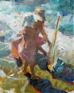 Kevin Beilfuss, A Day at the Beach, oil, 10 x 8.