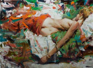Kevin Beilfuss, Reclining Nude, oil, 18 x 24.