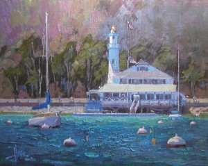 Debra Huse, Catalina Island Yacht Club, oil, 48 x 60.