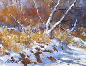 Cletus Smith, Snow on the Pecos, oil, 11 x 14.