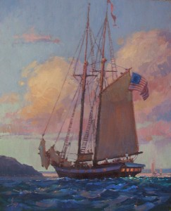 Debra Huse, Evening Arrival, oil, 30 x 24.