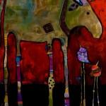 Jenny Foster, New Friends, acrylic, 48 x 36.