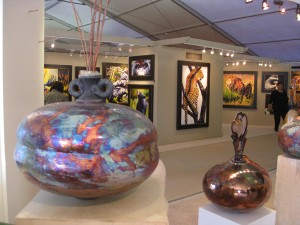 Interior view, Joseph Woodford ceramics and Debbie Edgers Sturges paintings.
