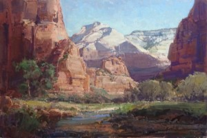 Kathryn Stats, Morning Shadows Zion National Park, oil, 24 x 36.