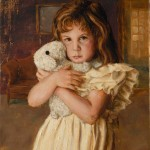 Carl Kunz, Girl With Her Lamb Doll, oil, 30 x 24.