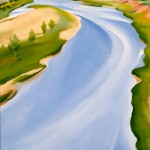 Georgia OKeeffe, Chama River, Ghost Ranch, oil, 30 x 16.