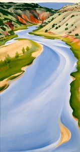 Georgia O'Keeffe, Chama River, Ghost Ranch, oil, 30 x 16.