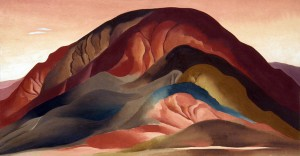 Georgia O'Keeffe, Rust Red Hills, oil, 16 x 30.