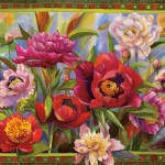 Nancy Cawdrey, Peony Parade, dye on silk, 30 x 38.