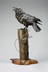 Bryce Pettit, Raven, bronze and wood, 28 x 16.