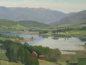 G. Russell Case, Pineview Lake, oil, 9 x 12.